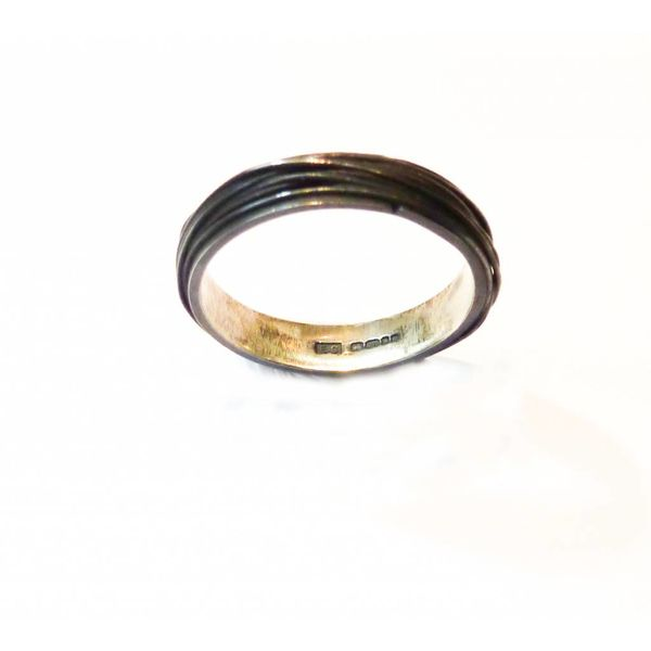 Thin wrap oxidised silver ring 2