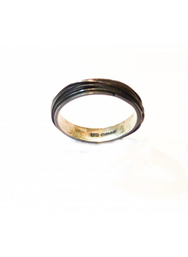 Thin wrap oxidised silver ring 2