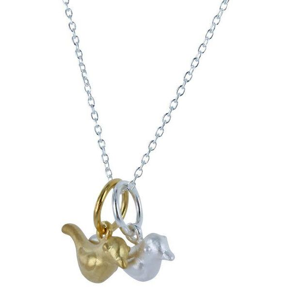 2 tiny birds, silver & 18c gold Necklace