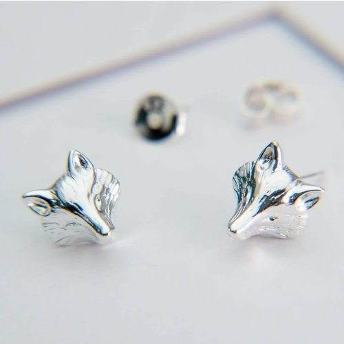 Reeves and Reeves Fox Mask Studs Silver