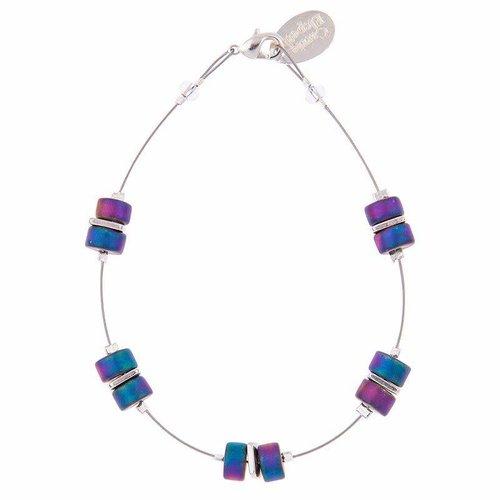 Carrie Elspeth Pulsera Infinity Spaced - Rainbow Blue / Purple