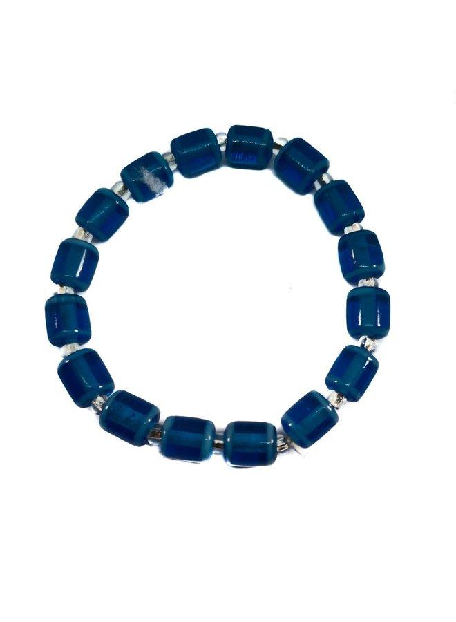 Armband Glasröhren blau -