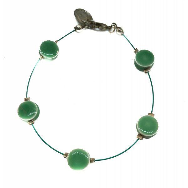 Bracelet Ceramic disc green -