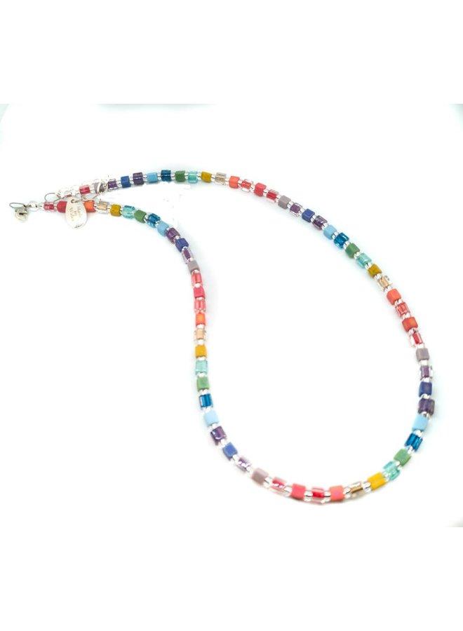 Regenbogen Schimmer Würfel Halskette