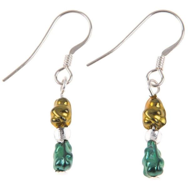 Earring Mini Foil - Gold / Green