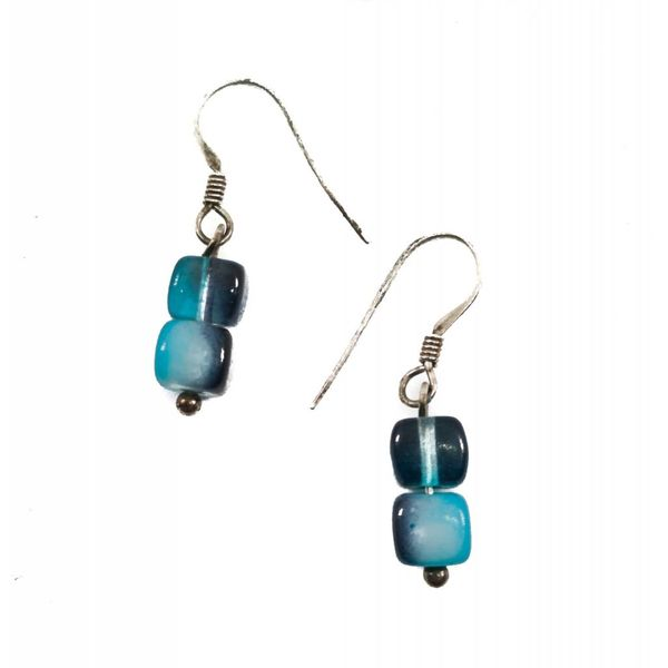 Earring Glass mixed Blues -