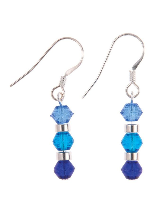 Ohrringe Mini Regenbogen blau