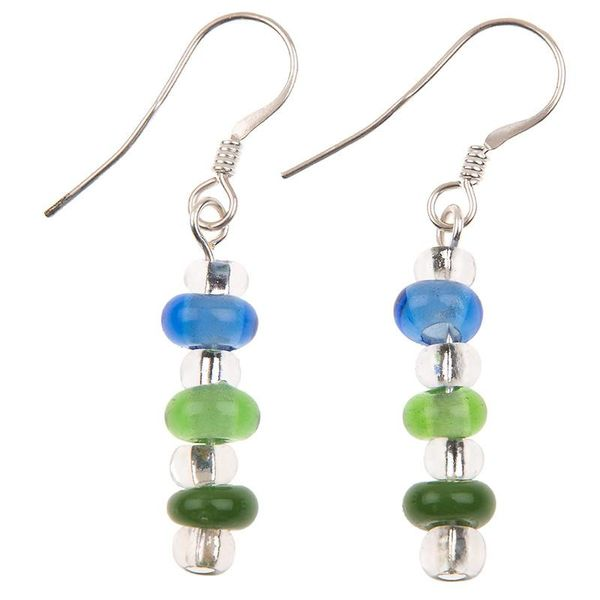 Earrings rainbow glass green