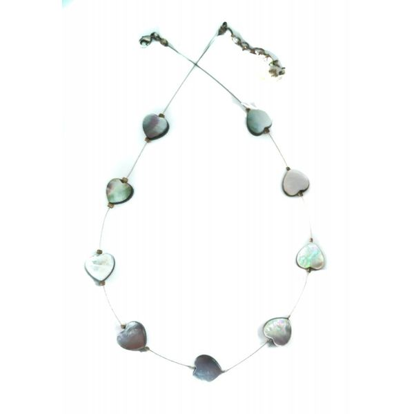 Necklace Pearl Hearts links -