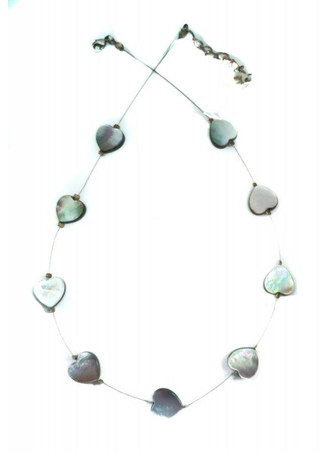 Halskette Pearl Hearts links -