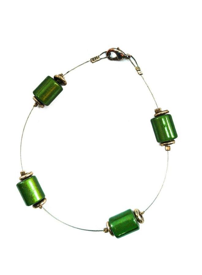 Armband Perlen grün beabstandet -