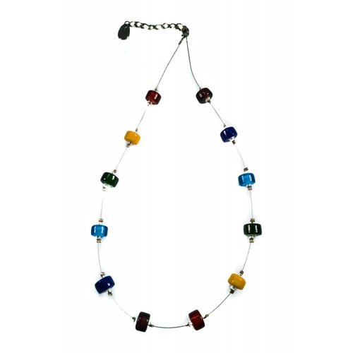 Carrie Elspeth Necklace spaced rainbow glass