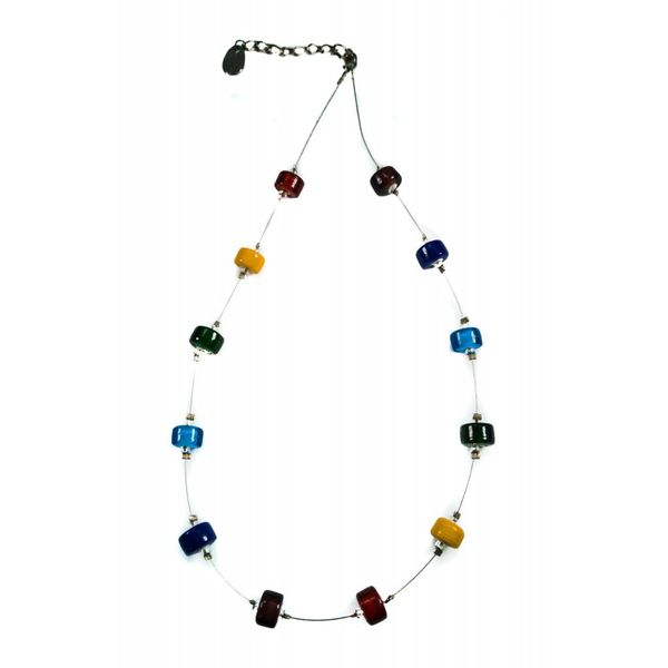 Necklace spaced rainbow glass