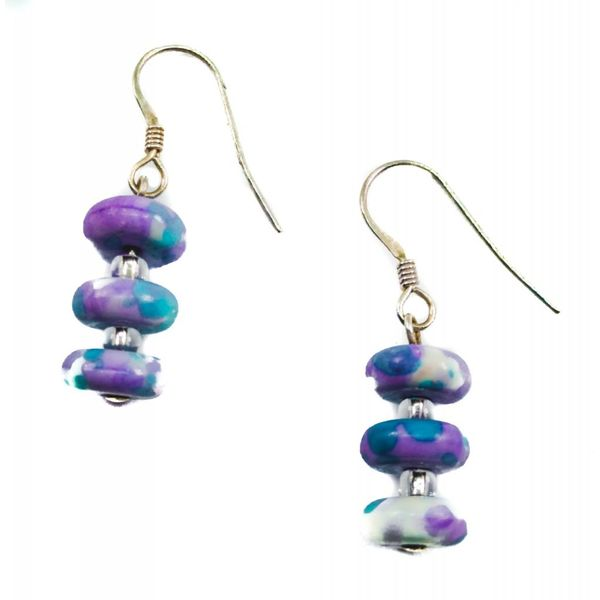 Earrings Ceramic Disc Lilac -