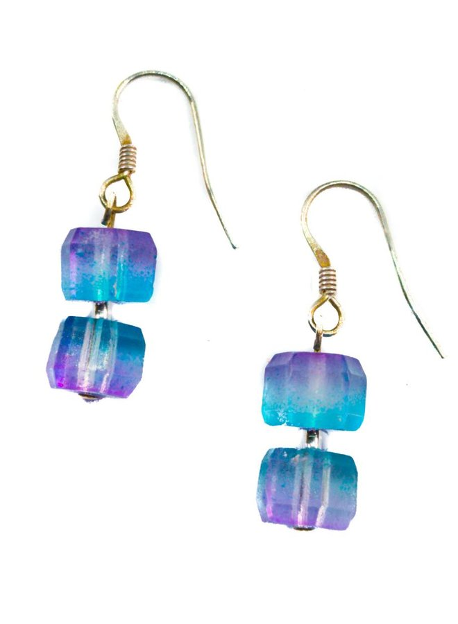 Ohrringe Glas Flieder -