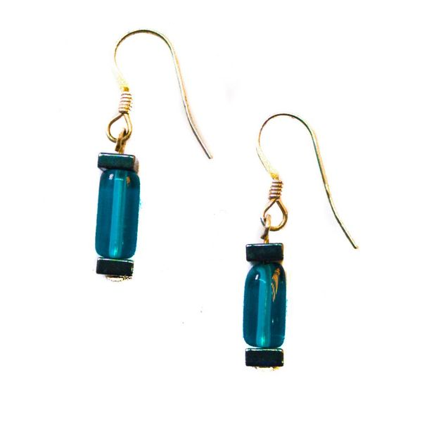 Earrings glass & haematite green