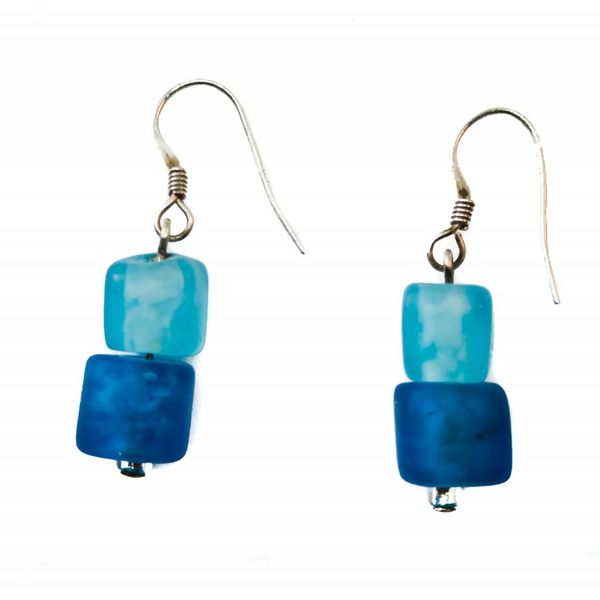 Earrings cube frosted glass blueberry