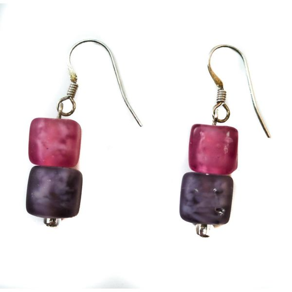 Earrings cube frosted glass plumb