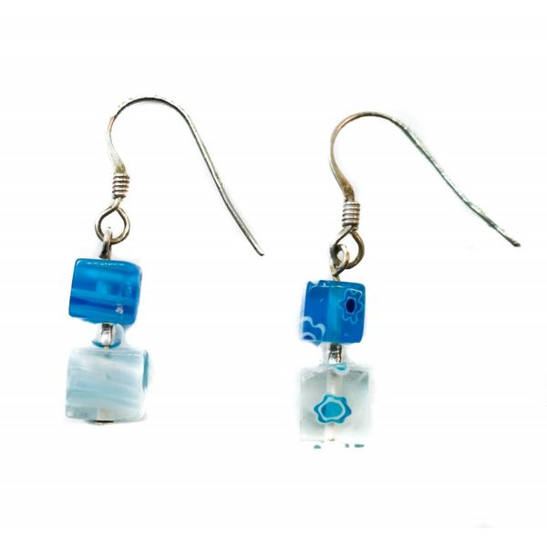 Daisy Cube Earrings - blue