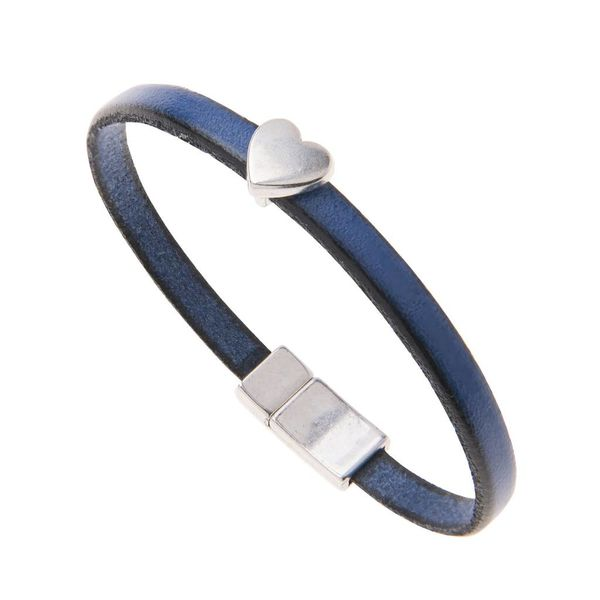Blue Leather Heart Charm Bracellet
