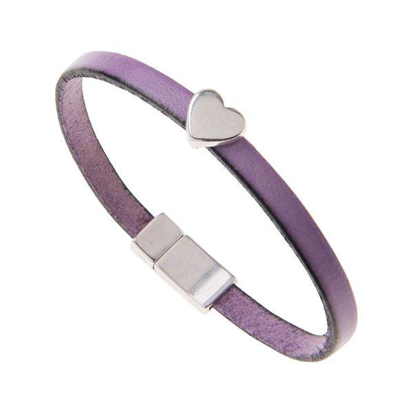 Purple Faux Leather Heart Charm Bracelet