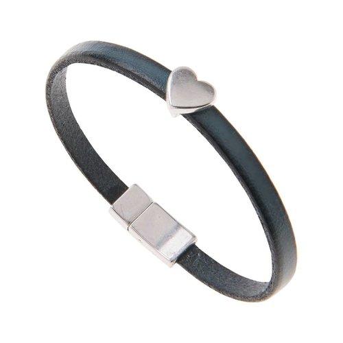 Carrie Elspeth Petrol Faux Leather Heart Charm Bracelet