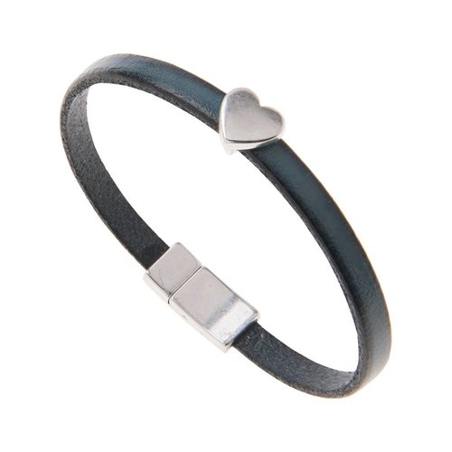 Carrie Elspeth Petrol Leather Heart Charm Bracelet
