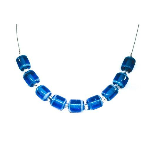 Carrie Elspeth Halskette Blaue Glasröhrenglieder