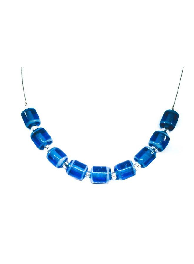 Halskette Blaue Glasröhrenglieder