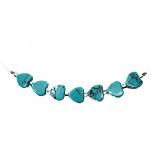 Carrie Elspeth Necklace Turquoise hearts links