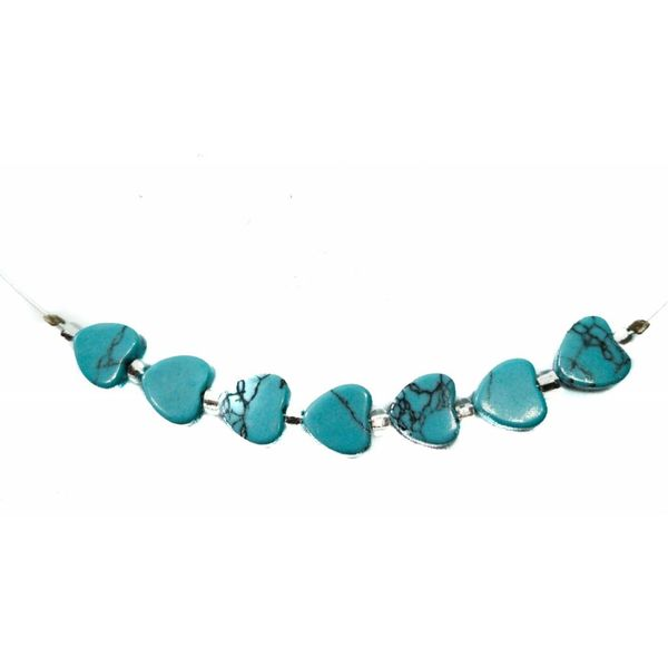 Necklace Turquoise hearts links