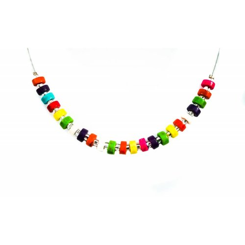 Carrie Elspeth Necklace Rainbow wood discs links