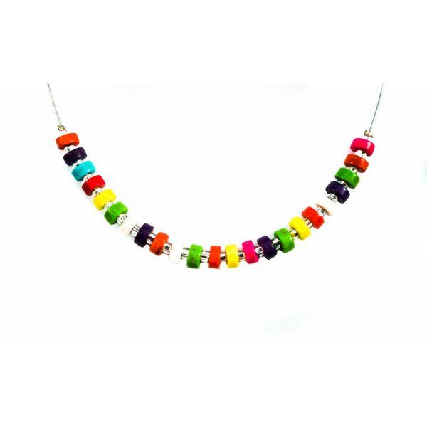 Necklace Rainbow wood discs links