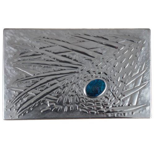 Maria Santos Coral  Wood, Pewter and Abalone  hinged box 11 sections