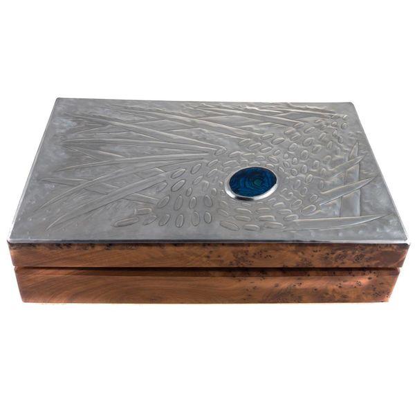 Coral Wood, Zinn und Abalone Klappbox 11 Abschnitte