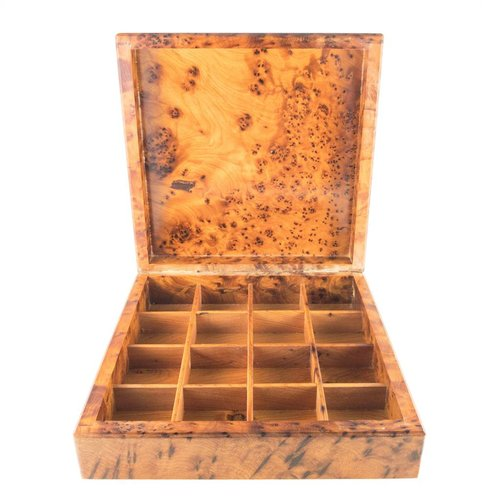Maria Santos Cherry Blossom Wood and Pewter hinged box 32 sections