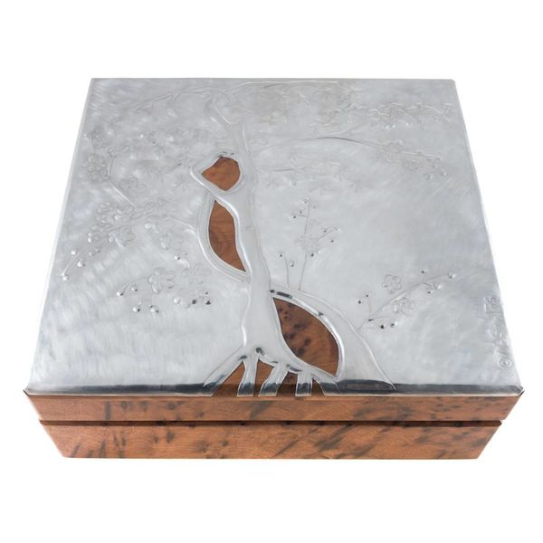 Cherry Blossom Wood and Pewter hinged box 32 sections