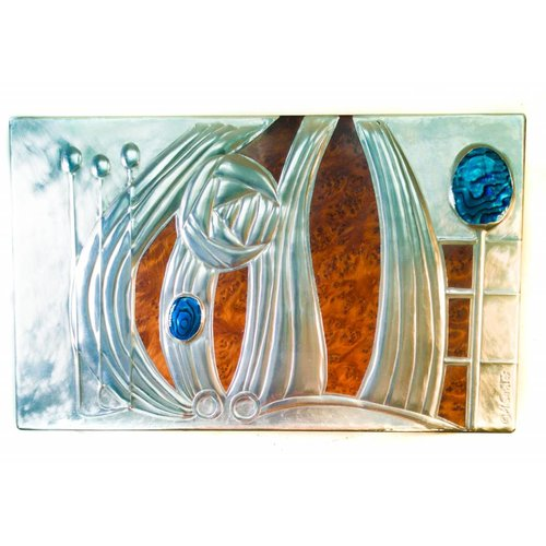 Maria Santos Rose and Abalone Shell Wood and Pewter box 4 sections