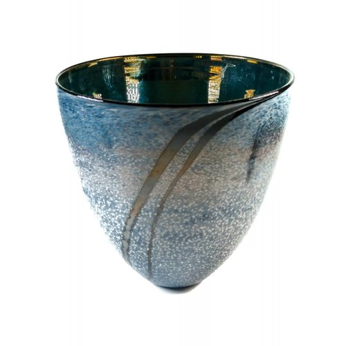 Martin Andrews Grey and blue gloss tall bowl