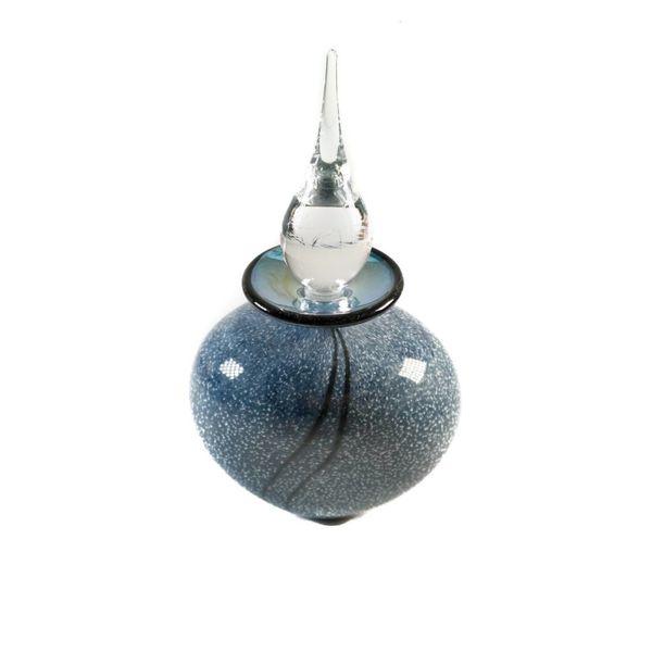 Botella de perfume brillante gris y plata