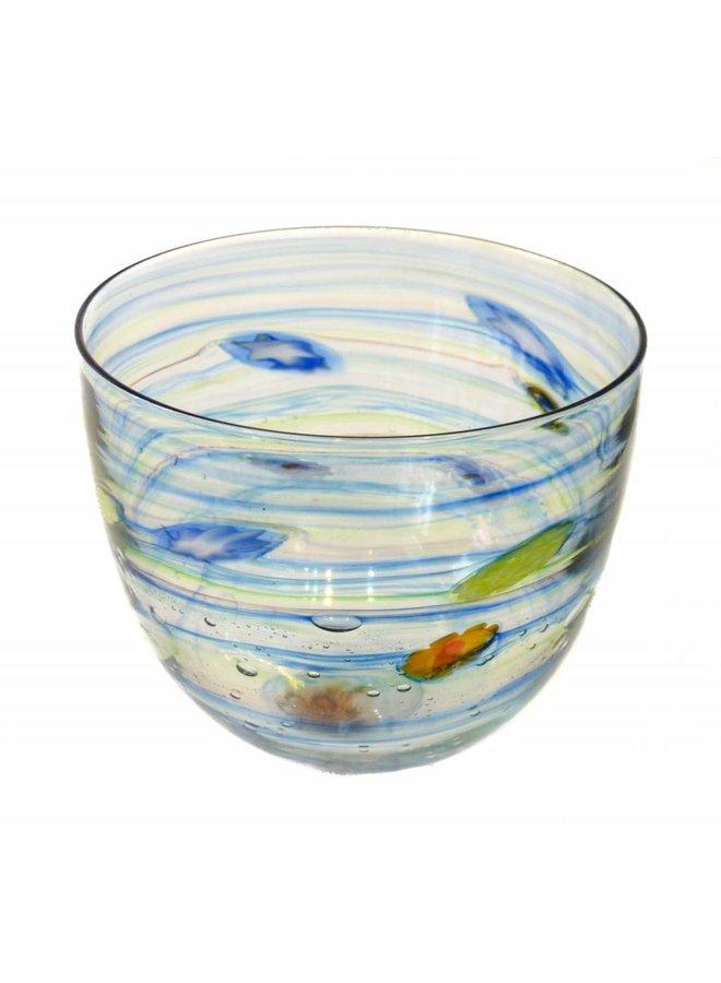 Copy of Grey & turquoise gloss Stone flat vase