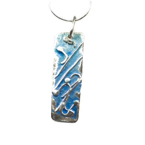 Maria Santos Long pale blue silver and enamel necklace