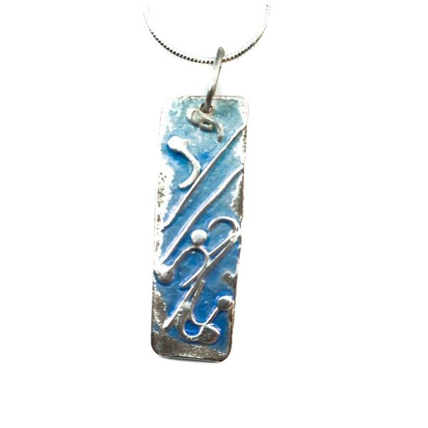 Long pale blue silver and enamel necklace