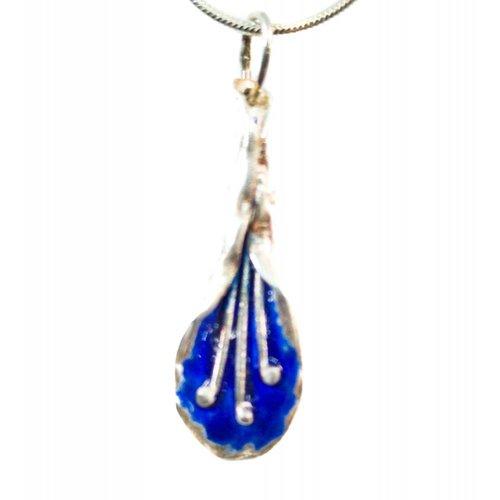 Maria Santos Lilly dark blue silver and enamel necklace