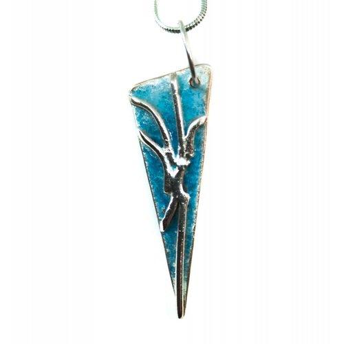 Maria Santos Aligeramiento triángulo turquesa plateado y collar de esmalte