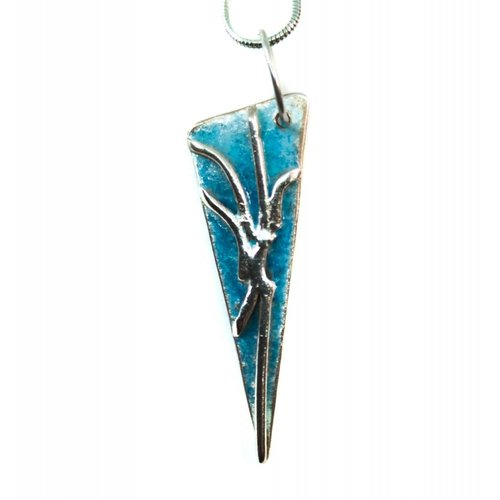 Maria Santos Lightening triangle turquoise silver and enamel necklace