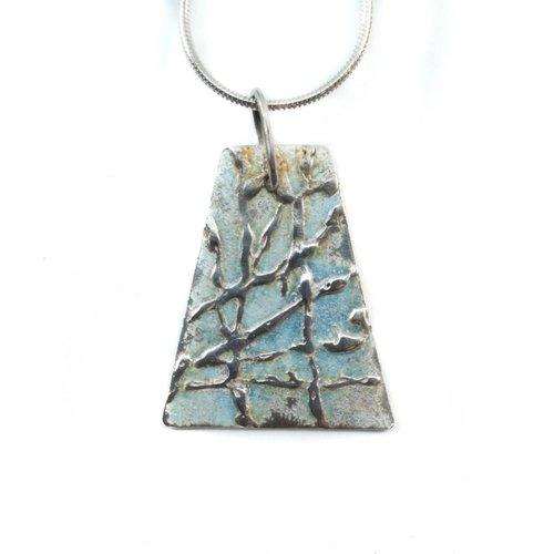 Maria Santos Rombus hellblau Silber und Emaille Halskette