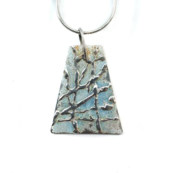 Rombus pale blue silver and enamel necklace