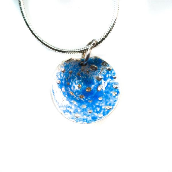Round blue  silver and enamel necklace