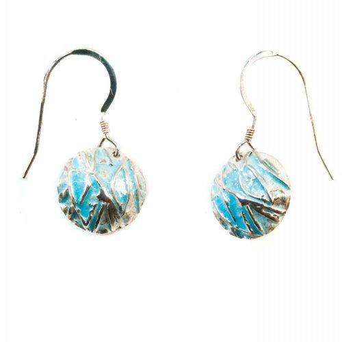Maria Santos Concave blue silver and enamel hook earrings